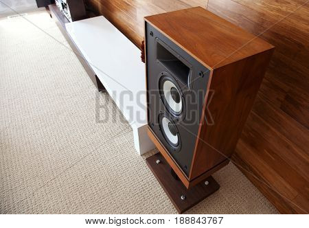 Vintage audio loudspeaker in minimalistic modern interior, diagonal view