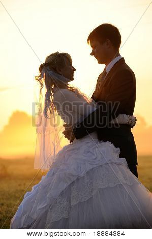 silhouette of young wedding pair