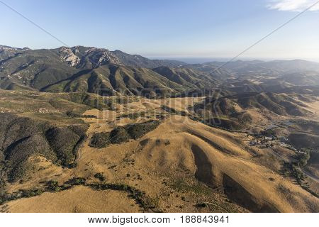 Aerial view of Mt. Boney and Rancho Sierra Vista in the Santa Monica Mountains National Recreation Area.