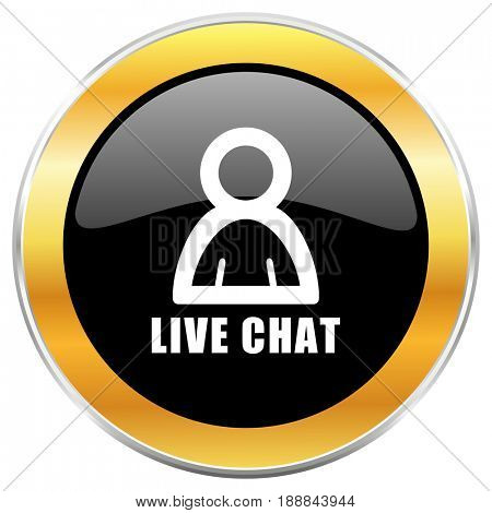 Live chat black web icon with golden border isolated on white background. Round glossy button.