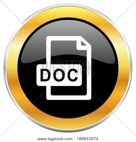 Doc file black web icon with golden border isolated on white background. Round glossy button.