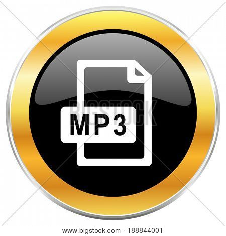 Mp3 file black web icon with golden border isolated on white background. Round glossy button.