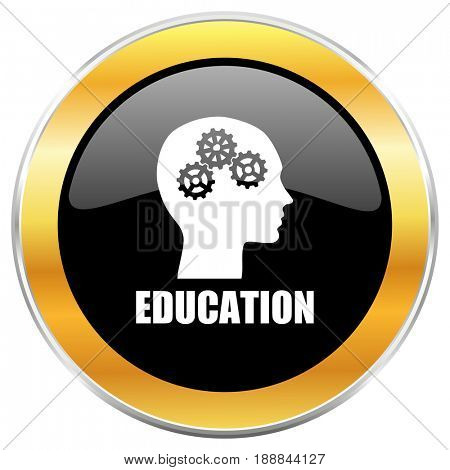 Education black web icon with golden border isolated on white background. Round glossy button.