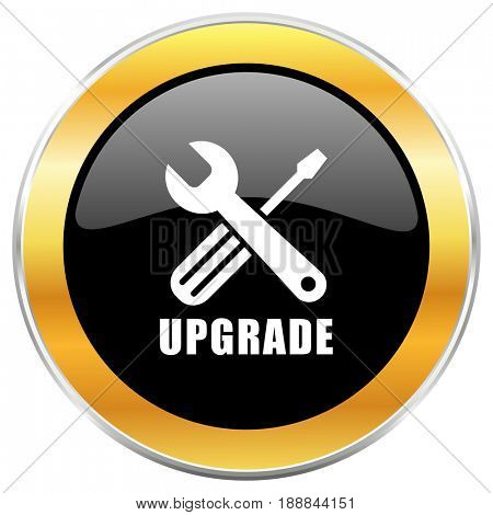 Upgrade black web icon with golden border isolated on white background. Round glossy button.