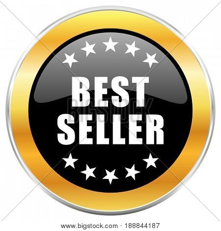 Best seller black web icon with golden border isolated on white background. Round glossy button.