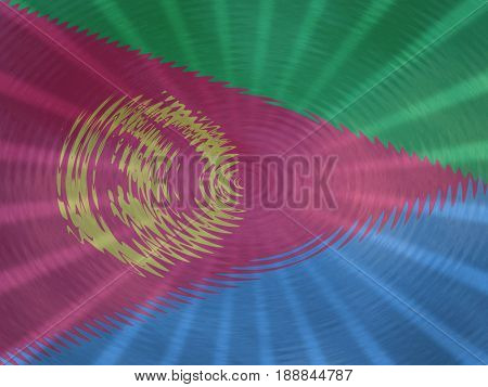 Eritrea flag background with ripples and rays illustration