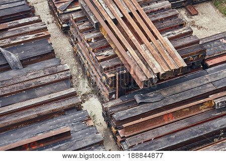 Steel girder beams stored on a site