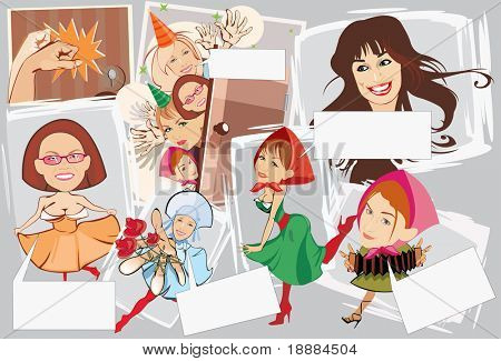vector image of smiling girls with blank area for text. may be use for birthday cards and posters
