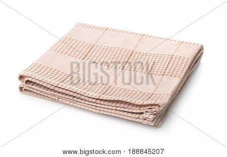 Folded kitchen cloth isolated on white