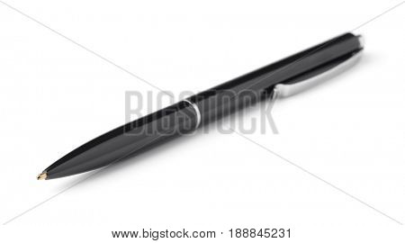 Black ballpoint pen isolated on white