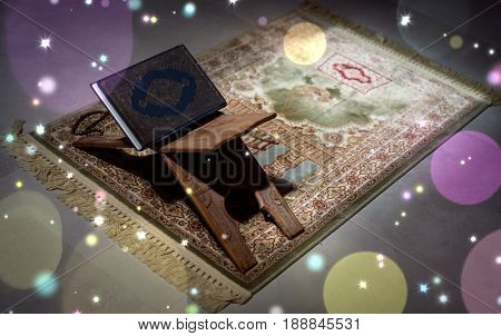 Koran on a stand in an empty room