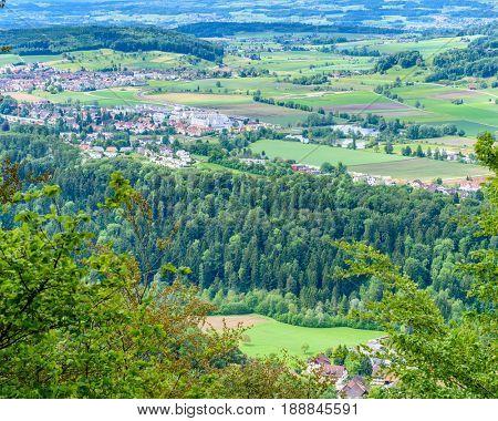 Zurich suburbs, swiss villages overlook from Uetliberg