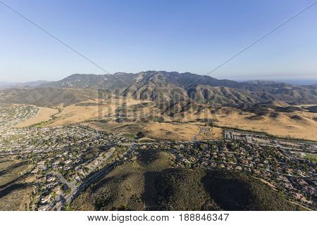 Aerial view of Newbury Park, Mt Boney and the Santa Monica Mountains National Recreation Area in Ventura County, California.
