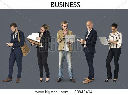 Diverse of Business People Using Digital Devices Communication Studio Isolated