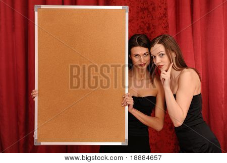girl hold empty board. may be use like background for your info