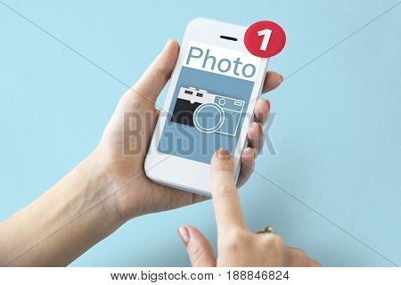 Illustration of camera collect the memories on mobile phone