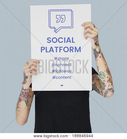 Social Platform Speech Bubble with Quotation Mark