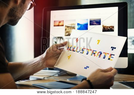 8 bit words illustration of creativity art design ideas