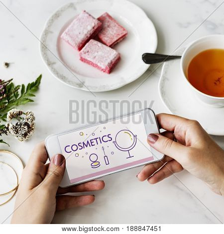Illustration of beauty cosmetics makeover skincare on mobile phone