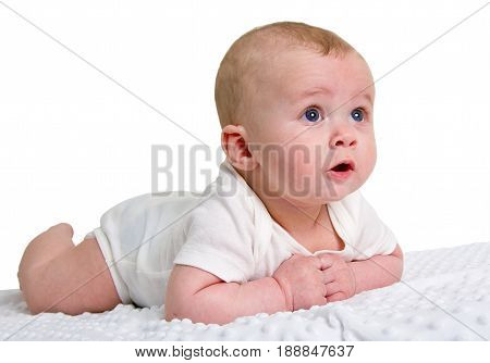 Portrait Of A Smiling, Beautiful Baby Isolated On White Background