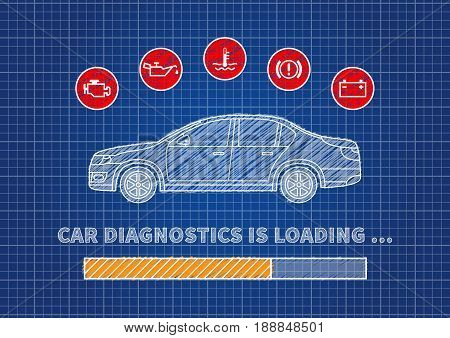 Car diagnostics loading bar vector illustration. Car technical maintenance concept with warning signs: check engine oil pressure generator coolant level brake system.