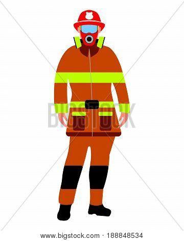 Fireman Flat Icon. Service 911. Cartoon Vector Illustration