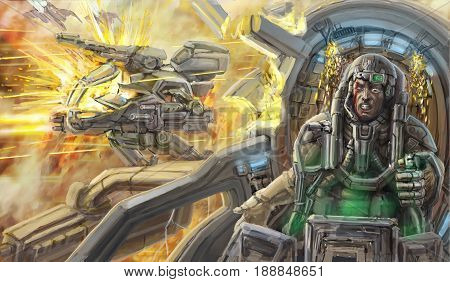 The pilot in the cockpit of a combat robot. Science fiction illustration. Original military character.