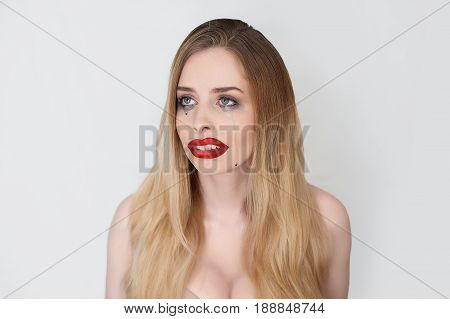 Beauty Girl Women face Portrait. Beautiful Blonde woman crying