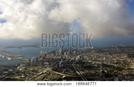 Aerial view of downtown Miami Florida seen from above
