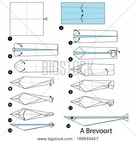 step by step instructions how to make origami A Fish collusive action.