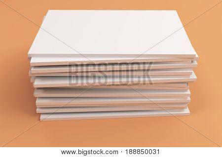 Stack Of Blank White Closed Brochure Mock-up On Orange Background