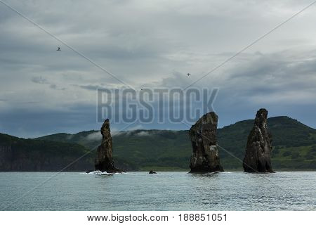 Three Brothers Rocks in the Avacha Bay of the Pacific Ocean. The coast of Kamchatka.