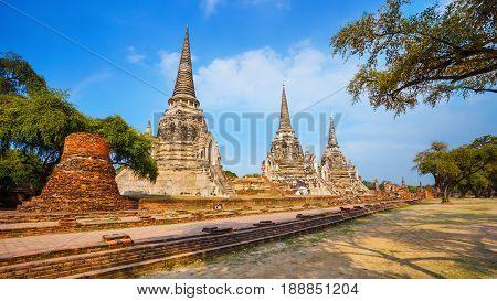 Ayutthaya, Thailand - December 20 2016: Wat Phra Si Sanphet Temple In Ayutthaya Historical Park, A U