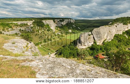 Beautiful view from above to the Cave City Eski-Kermen in Crimea