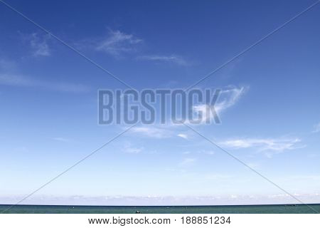 The sky and the sea in summer