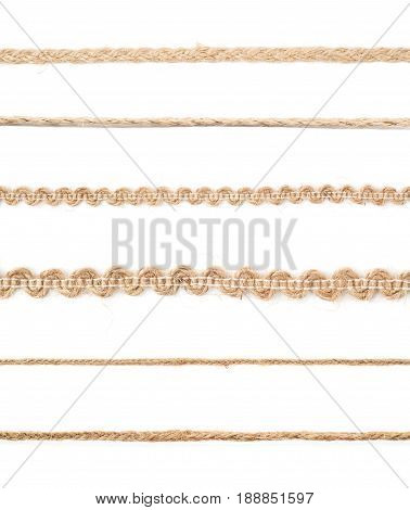 Line of a twisted decorational linen rope string isolated over the white background, set of six different foreshortenings