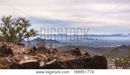 View from atop a cliff of Phoenix