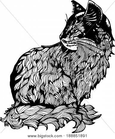 An illustration of a cat in profile. Black and white drawing of a cat.