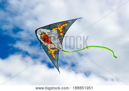 Moscow, Russia - May 28, 2017: Flying Kite On A Blue Sky Background