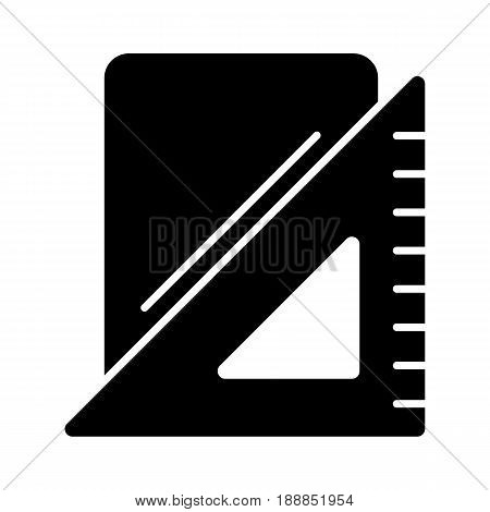 Triangle ruler and note pad vector icon. Black and white illustration of school tools . Solid linear education icon. eps 10
