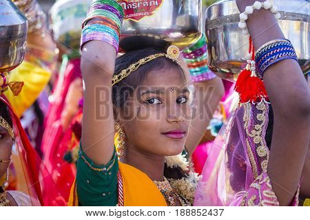 JAISALMER INDIA - FEBRUARY 08 2017 : Indian girl wearing traditional Rajasthani dress participate in Desert Festival in Jaisalmer Rajasthan India