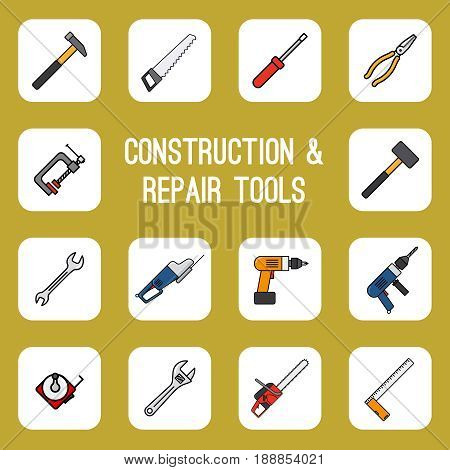 Home diy tools colored line icons. Carpenter worker utility signs vector set