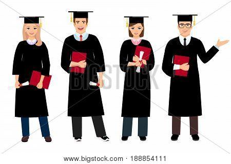 Student graduation set vector illustration. University female and male students graduate people isolated on white background