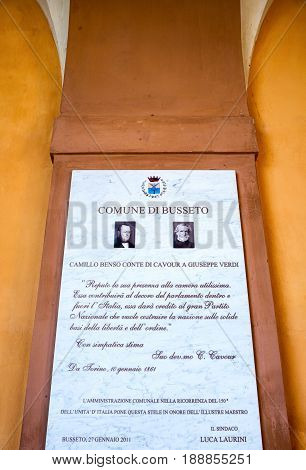 Busseto Italy - November 29 2013: A marble stele in memory of Giuseppe Verdi at the entrance of the Verdi Theatre