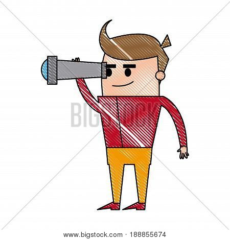concentrated businessman looking through the spyglass. business vision, perspective planning concept. vector illustration