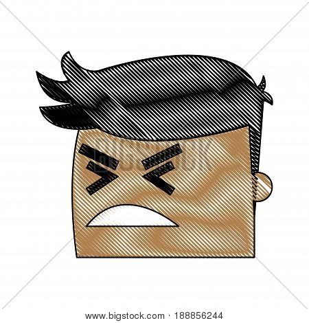 avatar man angry success. emotion face, expression, success person angry vector illustration