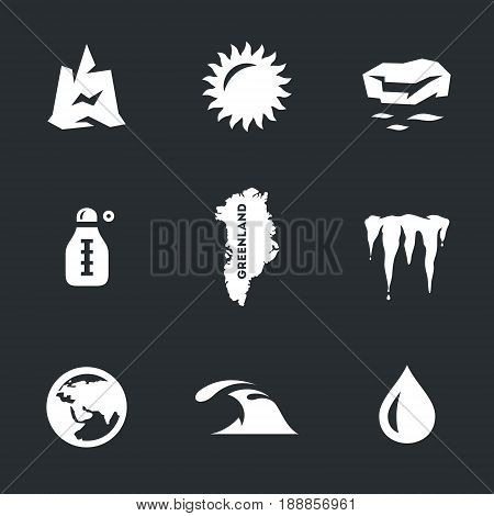 Iceberg, sun, ice floe, thermometer, map, icicles, planet, ocean, drop.
