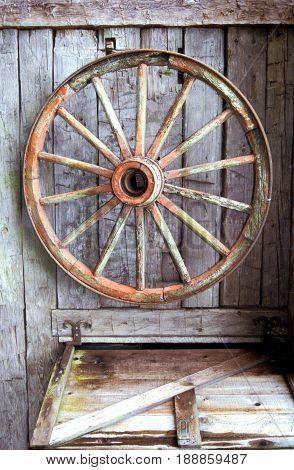 Vintage spare wagon wheel hanging on a stable for for usage.