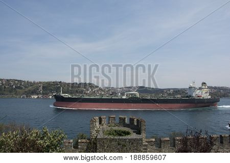 Istanbul throat. Rumeli Fortress. Watch the freight ships from the ramparts of the fortress