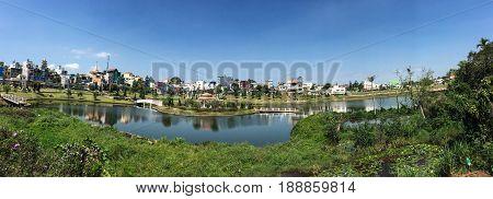 Lake With City Park In Bao Loc, Vietnam
